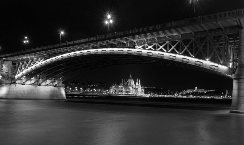 Low angle view of bridge at night