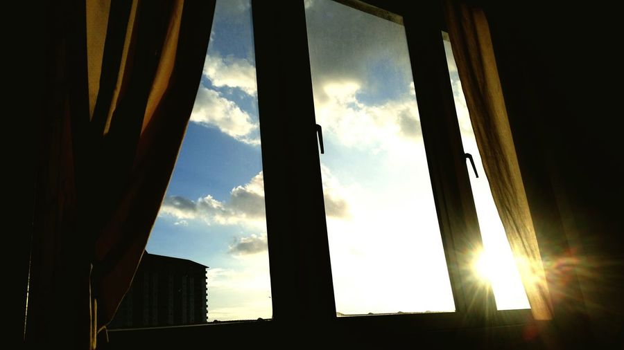 Window Sunlight Indoors  Low Angle View Cloud - Sky Bright Curtain Before Sunset Home Interior Sun Everning Sky