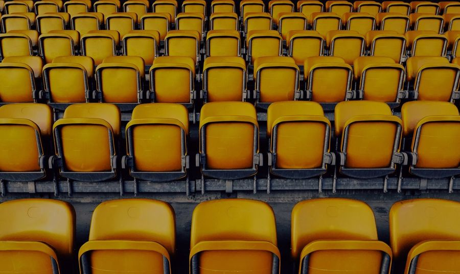 - NIKON, HERE ARE THE 80s RETRO PLASTIC CHAIRS FOR YOUR BIRTHDAY PARTY U WANT ME TO BUY. I BOUGHT ALL THE 850. - Colour Your Horizn Paint The Town Yellow In A Row Seat Chair Empty Repetition Auditorium No People Yellow Full Frame Indoors  Arrangement Backgrounds Folding Chair Lecture Hall Day Minimalism Minimal The Week On EyeEm 100 Shades Of Yellow Check This Out