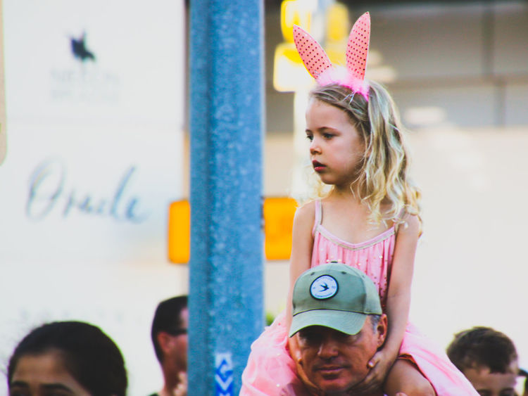 Bunny Ears  Child Childhood Close-up Day Elementary Age Family Father Father And Daughter Focus On Foreground Front View Girl Girl Power Girls Leisure Activity Lifestyles Real People Street Street Photography The Street Photographer - 2017 EyeEm Awards