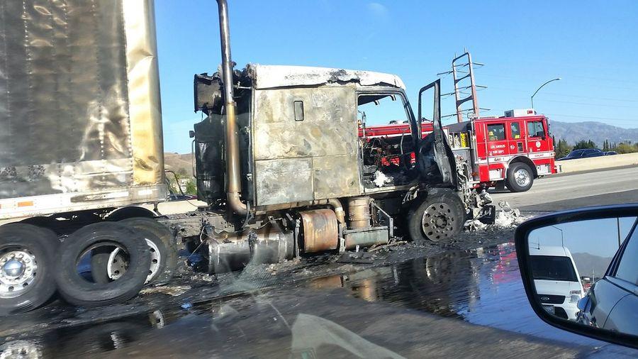 Transportation No People Semi-truck Truck Accident Freeway
