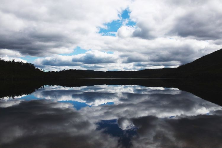 Reflection of clouds in sky