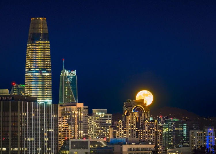 Moonrise on downtown Architecture Building Exterior City Cityscape Clear Sky Illuminated Modern Night Skyscraper Tower Travel Destinations Urban Skyline