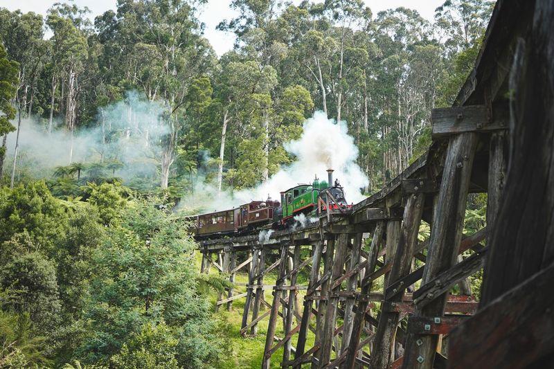 Steam train on wooden bridge