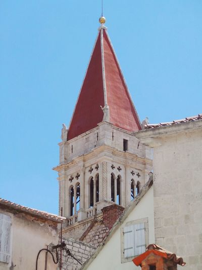 Architectural Feature Architecture Blue Building Exterior Built Structure Church Church Tower Clear Sky Croatia Dalmatia Day Detail High Section History House Low Angle View Outdoors Place Of Worship Roof Sky Spire  Tall - High The Past Trogir Window Neighborhood Map
