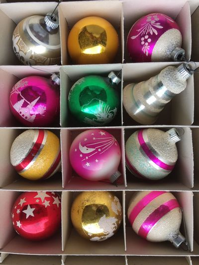 Ornaments Christmas Ornaments Close-up Collage Colorful Day Indoors  Multi Colored Multiple Image No People Variation