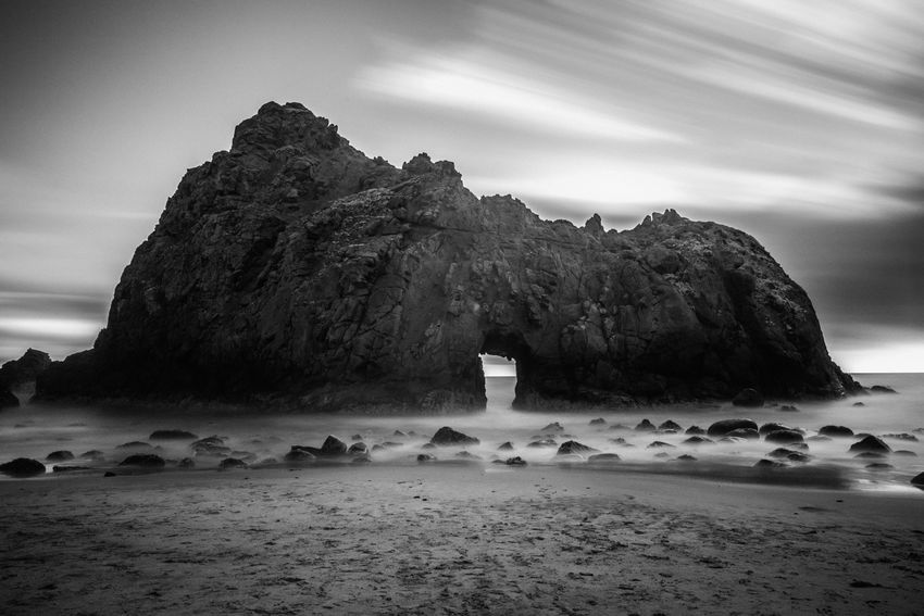California Coast California Dreamin Beach Beauty In Nature Blackandwhite Blackandwhite Photography Geology Landscape Long Exposure Nature Physical Geography Rock - Object Rock Formation Sand Tranquility Water
