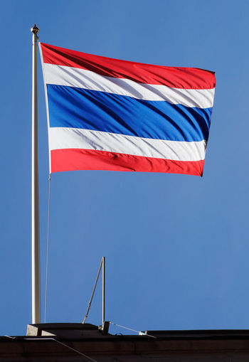 The flag of Thailand. Thai Thailand Blue Flag National Icon No People Patriotism Striped Wind