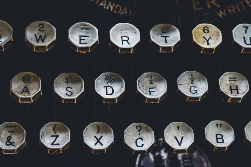 Accuracy Alphabet Antique In A Row Large Group Of Objects Metal No People Number Old-fashioned Pressure Gauge Time Typewriter Urgency Vintage