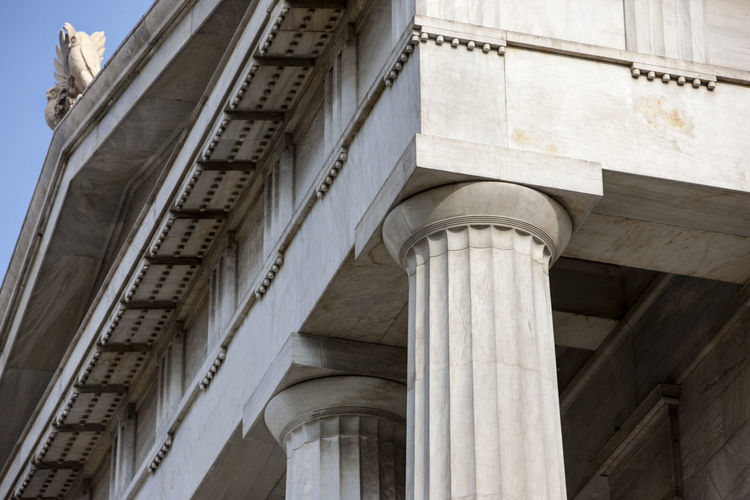 The old building in neoclassical style (Doric order) of the National Library Architectural Column Architecture Building Exterior Built Structure City Day Doric Order History Low Angle View Marble Neoclassical Neoclassical Architecture No People Outdoors Sky
