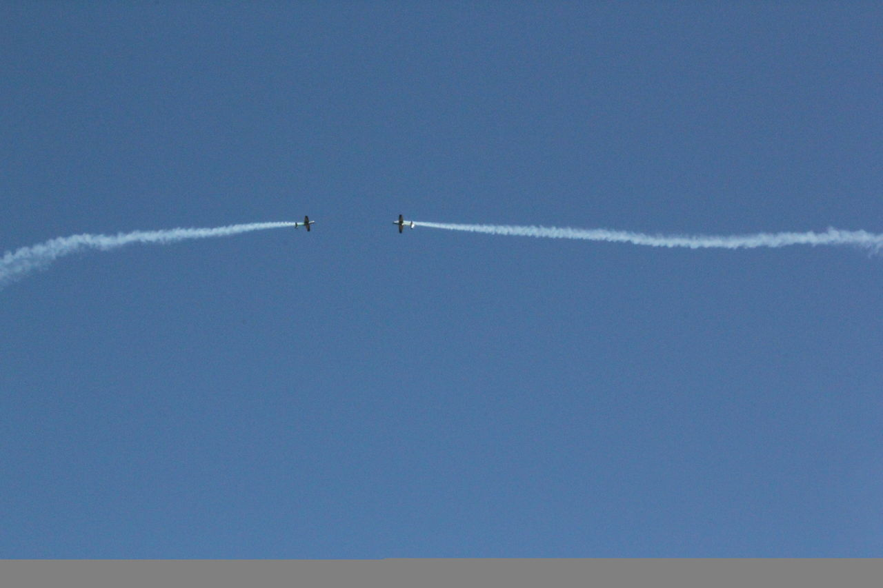 Air Vehicle Airplane Blue Clear Sky Cloud - Sky Copy Space Day Flight Flying Journey Low Angle View Mid-air Mode Of Transport No People On The Move Outdoors Sky Transportation Travel Vapor Trail