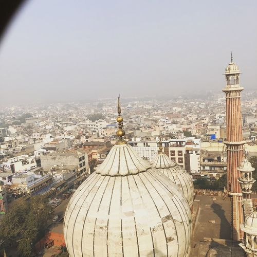 Old Delhi ❤️ 🕌 Whole View of Chandni Chowk (730ft above) No People Roof City Religion Travel Destinations Building Exterior Sky Outdoors Spirituality Day Place Of Worship Cityscape Built Structure High Angle View Architecture Dome Minar Mosque Islam JamaMasjid Delhi India Canon IPhone Houses Chandanichowk Olddelhi Mughals Dillimerijaan