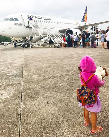 Onboarding Real People Airplane Air Vehicle Little Girl Littlegirl Human Waiting Waiting In Line w Waiting For The Plane