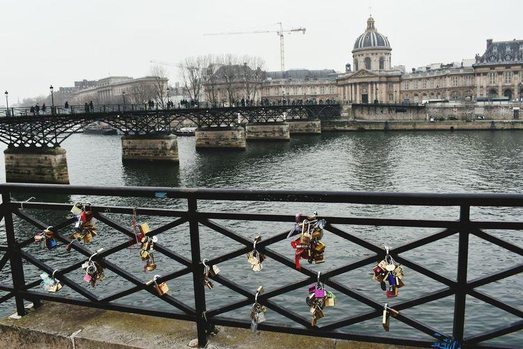 locking away the love Bridge - Man Made Structure River City Lock Paris Lockbridge  LaseineWater Beauty Foggy Day Sky