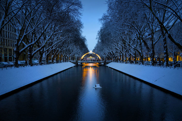 Düsseldorf, Germany Deutschland Düsseldorf Kögraben NRW Schnee Weihnachten Architecture Blau Blue Bridge Canal Cold Temperature Connection Nature No People Outdoors Snow Tree Water Winter HUAWEI Photo Award: After Dark