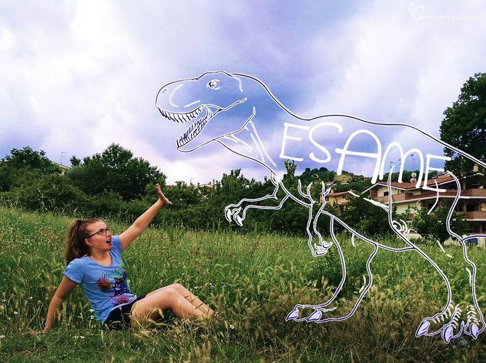 Scared by the Exams Exam Examseason Finals Dino Dinosaur Afraid Frighten Girl Photoshop Help Sos