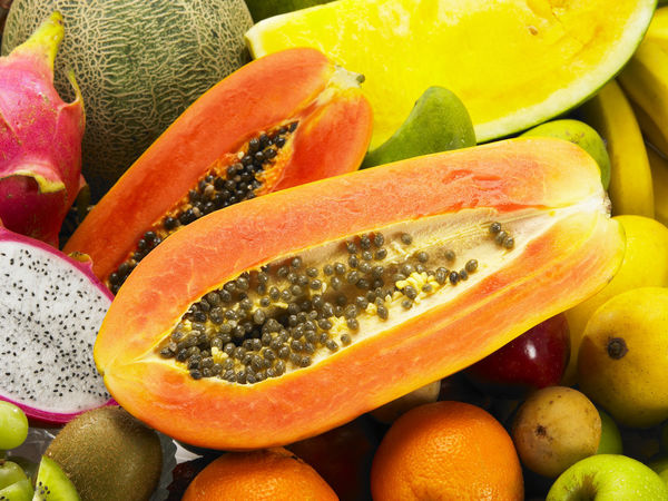 Banana Mango Pineapple Tropical Fruits Assortment Colorful Dragon Fruit Grape Guave Honey Dew Orange - Fruit Papaya Red Apple Strawberry Variety Watermelon