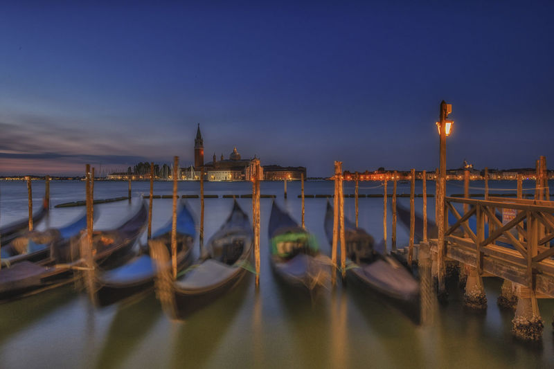 Architecture Building Exterior Built Structure Canal City Dusk Gondola - Traditional Boat Illuminated Mode Of Transportation Moored Nature Nautical Vessel No People Outdoors Place Of Worship Sky Transportation Travel Travel Destinations Water Wooden Post