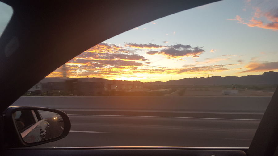 Sunset Reflection Travel Car Transportation No People Sky Outdoors City Cityscape Vehicle Mirror Close-up Day Arizona Sunsets Sky on Fire