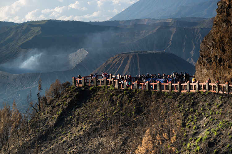 High angle view of crowd on mountain bromo, indonesia.