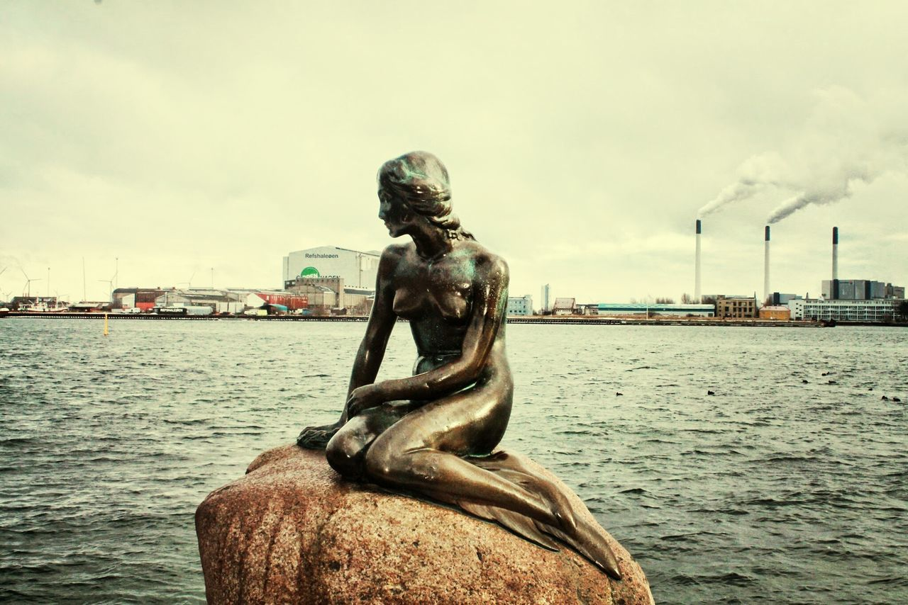 statue, sculpture, human representation, art and craft, sky, water, cloud - sky, waterfront, day, no people, outdoors, nautical vessel, sea, built structure, architecture, city