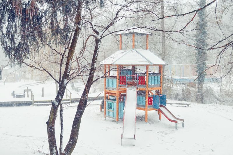 Colors Colorful Childhood Memories Childhood Shades Of Winter Snow Winter Cold Temperature Playground Nature Built Structure Outdoors Architecture Beauty In Nature Day Outdoor Play Equipment Building Exterior No People Colour Your Horizn