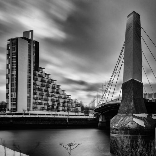 Glasgow  Squinty Bridge Storm Architecture Building Exterior Built Structure City Cityscape Cloud - Sky Clyde Arc Day Long Exposure Modern No People Outdoors Sky Skyscraper Transportation Water