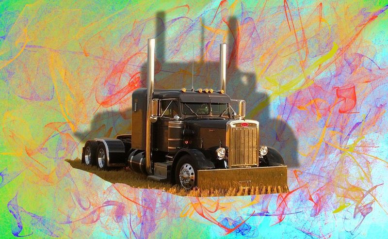 Classic Needlenose PeterBilt Poppin' Peterbilt Needlenose Classsic Poppin Uniqueview Colorful Bright Posterart Multi Colored Photography Themes No People Day