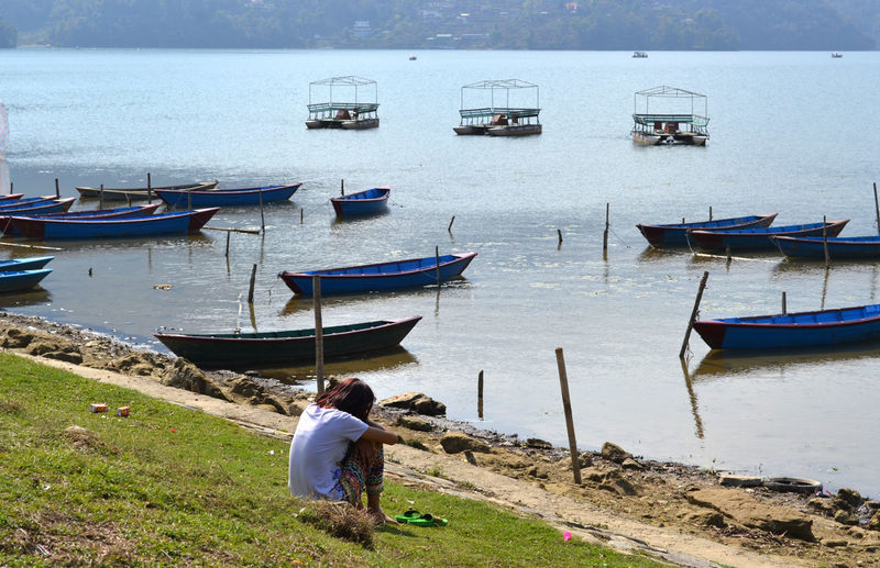 Lonely One Person Women Beauty In Nature Phewa Lake Pokhara!