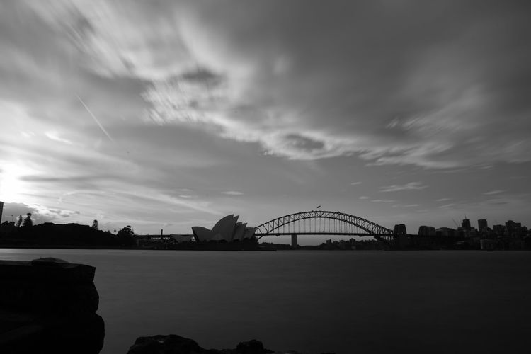 Sydney Harbour Bridge and Opera House at Sunset Blackandwhite Clouds Clouds And Sky Cloudscape Long Exposure Monochrome Photography Mrs Macquarie Point Sunset Sydney Harbour Bridge Sydney Opera House