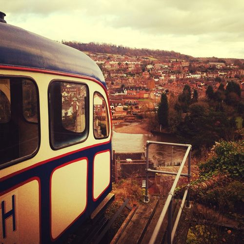 Cliff Verticle Railway Cliff Railway Overlooking Town Rail Carriage Heights