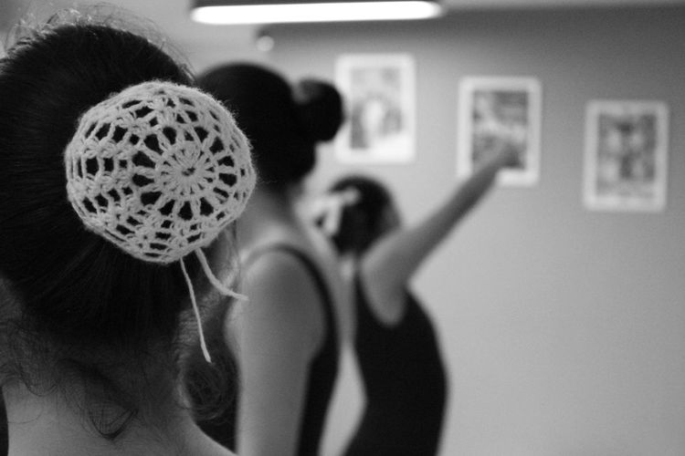 Female dancers rehearsing in dance studio