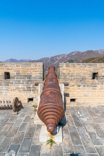 Artillery on the Great Wall of yanmen pass, China Ancient Ancient Buildings Ancient Times Artillery Blue Sky Buildings China Defense Firearms Great Wall Of China Mountains Old Fashioned Shanxi Province Sunny Days Weapon Yanmen Pass Nature Architecture Day Built Structure No People History The Past Outdoors Cannon Sky Clear Sky Copy Space Fort Blue Wall Old Sunlight Building Exterior Ancient Civilization Stone Wall