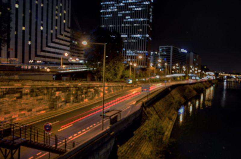 Night Illuminated Transportation Speed Light Trail Architecture Motion Skyscraper Traffic City Life