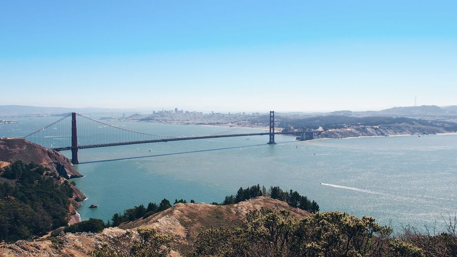 High angle view of golden gate bridge over river against clear sky
