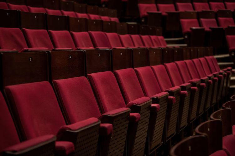 Full frame shot of empty chairs in theater