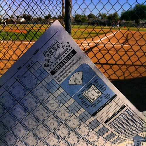 """My family's passion Scorekeeper Scorebook Intense Game won in overtime """"the game isn't over until the last inning is played"""" oc caligirl passion family lilbro baseball field west fullerton collegelife simplybeingalice california"""