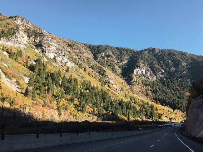 road from Heber to Provo. Fall Colors Canyon Mountain Utah