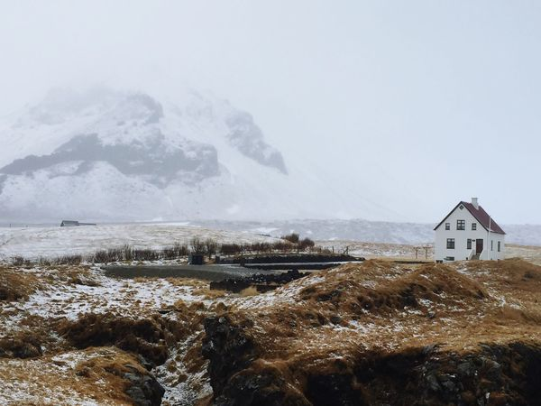 Lonely house in winter Winter Wonderland Icelandic Landscape Mountain Landscape Lonely House Wintertime Iceland No People Nature Winter Day Scenics Beauty In Nature Outdoors Snow Landscape Cold Temperature Water