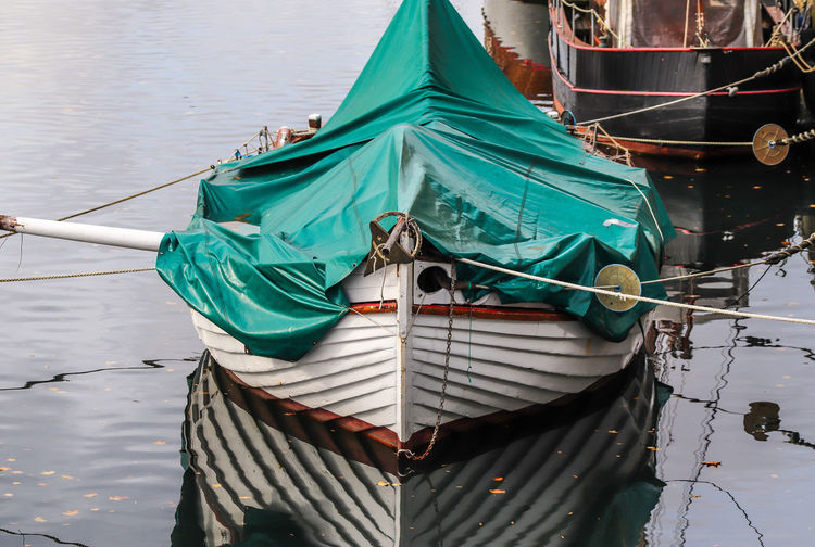 Fishing boat moored in lake