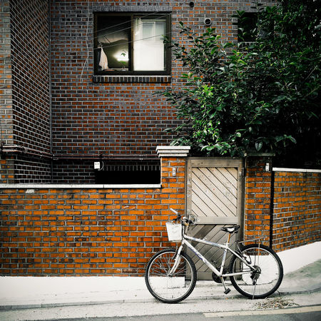 A bicycle parked outside a brick house Architecture Bicycle Brick Brick Wall Building Exterior Green House Life Lifestyles Parked Parking Residential Building Residential Structure Stationary Still Life Street Tree Wall Window