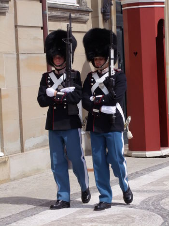 Guards at Amelianborg Palaces Capital City City Composition Full Frame Full Length Full Length Mirrors Guards Guns Men On Duty Outdoor Photography Palace Portrait Rifles Soldiers Sunlight And Shadow Tourism Tourist Attraction  Tourist Destination Tradition Uniforms