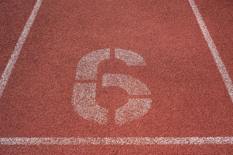 High angle view of number on sports track
