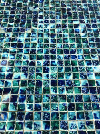 Pattern Pieces Base Tiles Water Fountain Blue Green  Clear Water Square Ceramic Tiles Outside Pickford Movie Theatre Afternoon Sunlight Jan 2016 mottled effect California USA