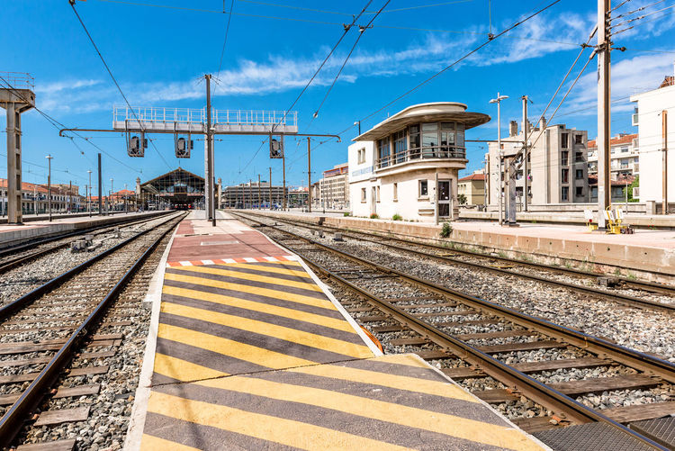 Gare de marseille-saint-charles railroad station against blue sky on sunny day