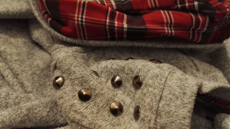 Check Studs & Spikes Close-up Fabric Indoors  No People Studs Sweater Textile Textured