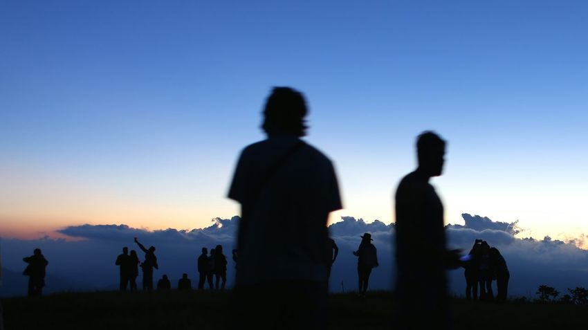 Silhouette Sunset Sky People Group Of People Rural Scene Nature Outdoors Beauty In Nature Brazil Mountain Mantiqueira Hiking Landscape Brazilian Gallery Brazilian Mountains