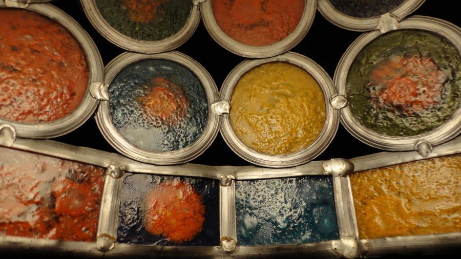 High angle view of spices for sale