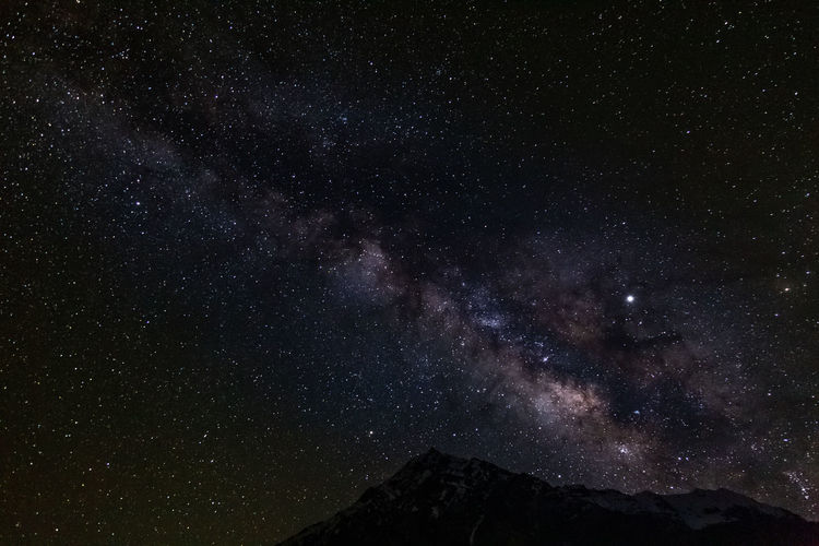 A Full View of the Milky Way. Night Star - Space Space Beauty In Nature Astronomy Scenics - Nature Galaxy Sky Tranquil Scene Tranquility Mountain No People Nature Star Low Angle View Milky Way Star Field Non-urban Scene Outdoors Constellation The Great Outdoors - 2019 EyeEm Awards The Creative - 2019 EyeEm Awards