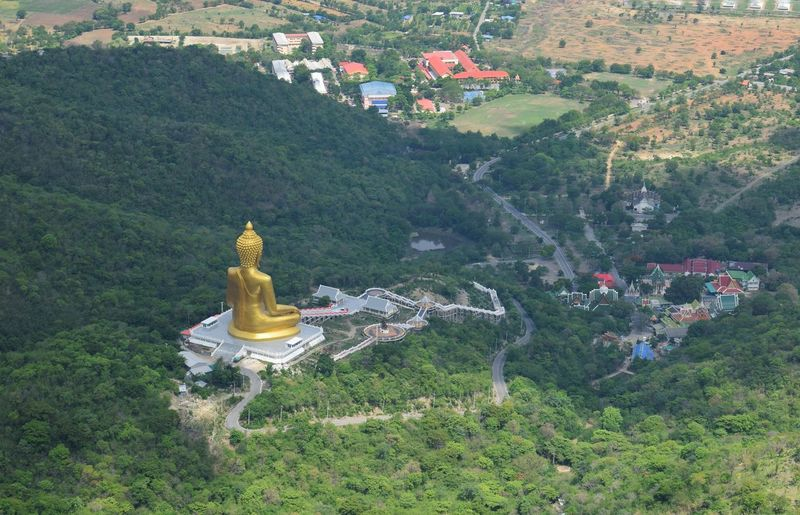 view from gold buddha with mountain Copy Space Natural Outdoors BIG View Background Mountain Thailand Travel Landscape Asian  ASIA Forest Trees Statue Sculpture Tree Human Representation High Angle View Green Color Golden Color Buddha Temple Church Religion
